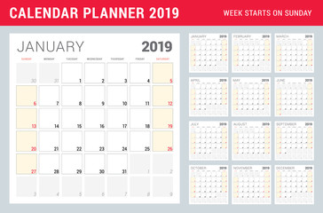 Calendar planner for 2019 year. Week starts on Sunday. Printable vector stationery design template. Set of 12 months
