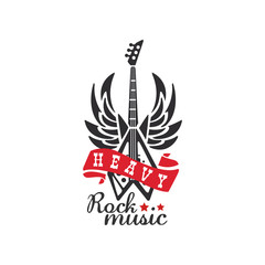 Heavy Rock music logo, emblem for rock band, festival, guitar party or musical performance vector Illustration on a white background