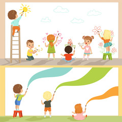 Cute little gids painting with color paints and brush on the wall set, back view vector Illustrations on a white background