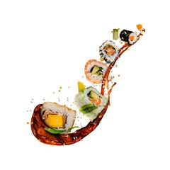 Flying sushi pieces on white background