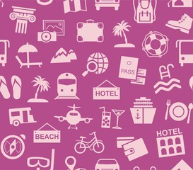 Travel, vacation, tourism, vacation, seamless pattern, purple, color, vector. Different types of holidays and ways of travelling. Pink pictures on the purple field. Vector, color background.