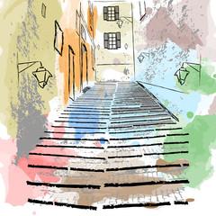 Sketch drawing of an old European street.