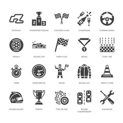 Car racing vector flat glyph icons. Speed auto championship signs - track, automobile, racer, helmet, checkered flags, steering wheel, start. Solid silhouette pixel perfect 64x64.