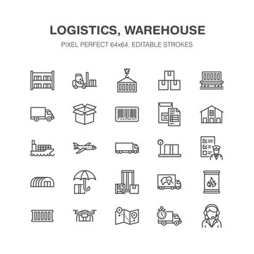 Cargo transportation flat line icons Trucking, express delivery, logistics, shipping, customs clearance, package, tracking labeling symbols. Transport thin signs freight services. Pixel perfect 64x64.