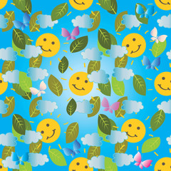 Colorful baby seamless pattern. Vector light blue cute background. Sky,  sun, clouds, butterflies, leaves. Beautiful design for baby wallpapers, fabric, textile, clothes, print. Happy summer holidays.