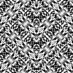 Tribal vector black and white seamless pattern. Folk abstract geometric background. Ethnic monochrome ornament. Decorative tribe design for fabric, wallpaper. Patterned texture with geometric elements