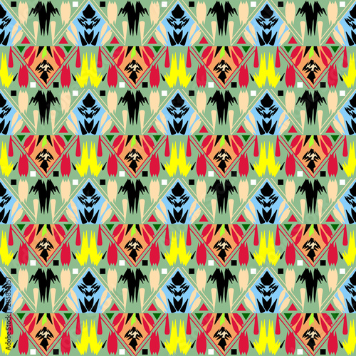 Tribal Ornamental Vector Seamless Pattern Folk Abstract Colorful