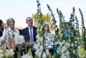Britain's Prime Minister, Theresa May, and her husband Philip visit the RHS Chelsea Flower Show in London