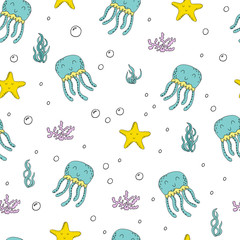 Cute hand drawn pattern octopus in cartoon style. vector print