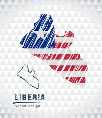 Liberia vector map with flag inside isolated on a white background. Sketch chalk hand drawn illustration