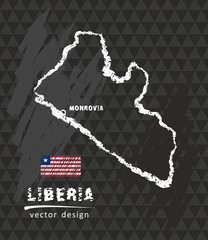 Map of Liberia, Chalk sketch vector illustration