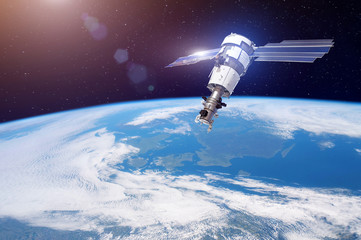 Fotorolgordijn Nasa Research, probing, monitoring of in atmosphere. Satellite for monitoring the weather in the polar orbit above the Earth. Elements of this image furnished by NASA.