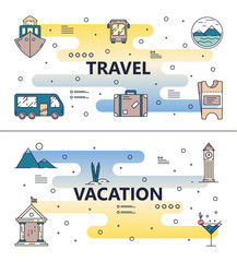 Vector thin line travel poster banner template set