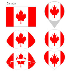lag of Canada, set. Correct proportions, lips, imprint of kiss, map pointer, heart, icon. Abstract concept. Vector illustration on white background.