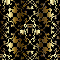 Gold 3d Baroque seamless pattern. Vector vintage background.
