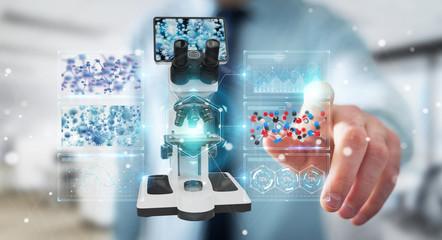 Businessman using modern microscope with digital analysis 3D rendering