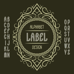 Vintage label template in patterned frame. Isolated logo design elements and alphabet.