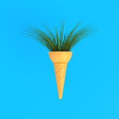 Branch tree in ice cream cone abstract minimal blue background, Nature concept, 3d rendering