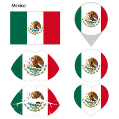 Flag of Mexico, set. Correct proportions, lips, imprint of kiss, map pointer, heart, icon. Abstract concept. Vector illustration on white background.