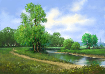 Paintings  rural landscape. Fine art, river, trees, road.