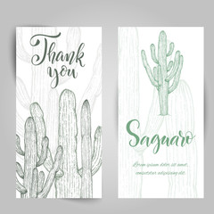 Hand drawn saguaro cactus