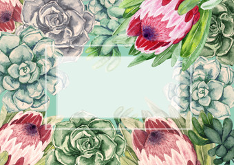 Watercolor frame. Succulents with protea flowers. Color cacti.