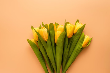 Flat lay, top view yellow flowers on brown color background with copyspace. Selective focus. Place for text.