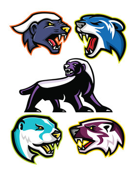 Mascot icon illustration set of fossorial carnivores like the honey badger or the ratel, polecat or weasel, the North American river otter or common otter and the American badger  viewed from side  on