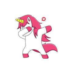 pink unicorn do dubbing with symbol of love