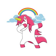 pink unicorn character is dubbing with a rainbow above it