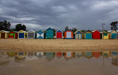 The iconic colorful beach huts on Brighton Beach in Melbourne.Australia