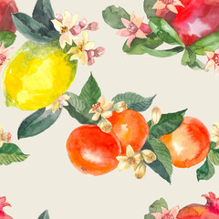 Watercolor seamless pattern of isolated hand drawn oranges, pomegranate, lemon and flowers in sketch style on light background.