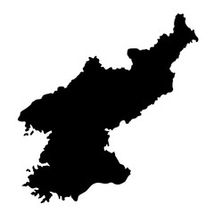 black silhouette country borders map of North Korea on white background. Contour of state. Vector illustration