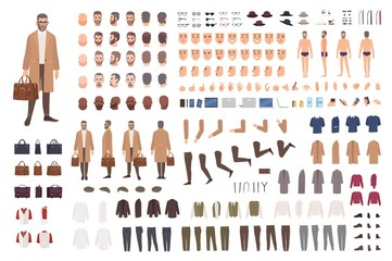 Fashionable man of middle ages constructor or DIY kit. Set of male cartoon character body parts, facial expressions, gestures, clothes, accessories isolated on white background. Vector illustration.