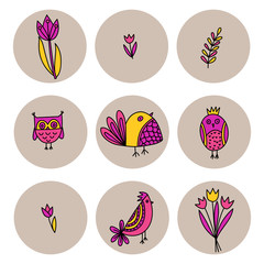 Set of cute birds and tulips in doodle style