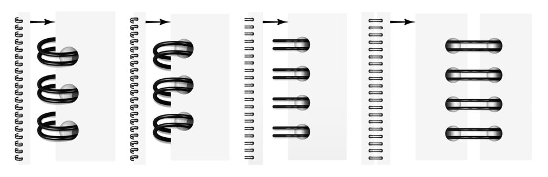 Vector set of realistic images (mock-up, layout) of black spirals for a notebook: a top view, a perspective view, a spiral of an open notepad. The image is created using the gradient mesh. EPS 10.