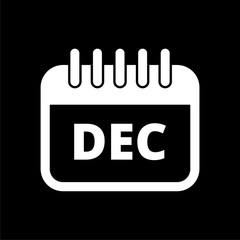 December calendar icon, Calendar sign, December month symbol on dark background