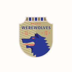 Werewolves Medeival Sports Team Emblem. Abstract Vector Sign, Symbol or Logo Template. Angry Wolf Head in a Shield with Vintage Typography.