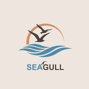 abstract design of ocean logo with waves and seagulls