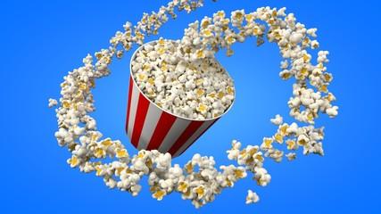 flow of popcorn filling a bucket. 3d illustration