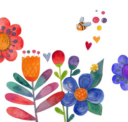 watercolor flowers, collection of decorative flowers and plants