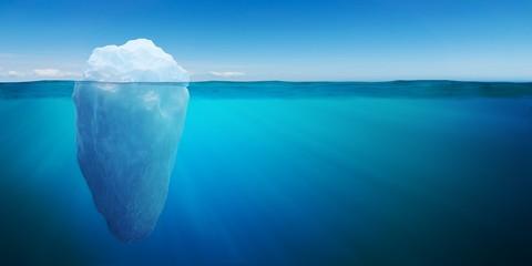 Underwater view on big iceberg floating in ocean. 3D rendered illustration.