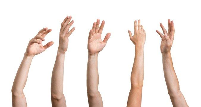Many hands raised up. Isolated on white background.