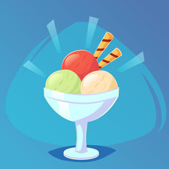 Ice cream in bright cartoon style. Icecream in bowl sweet Food game icon, cartoon food, vector illustration eps10