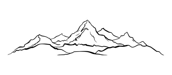 Hand drawn Mountains sketch landscape with hills and peaks.