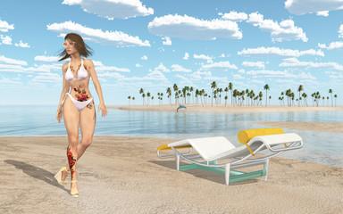 Frau im Bikini am Strand und Liegestuhl