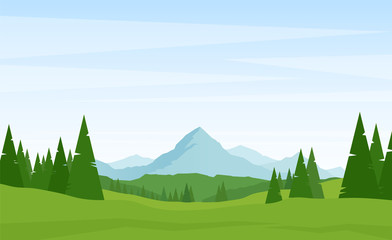 Summer Alpine Mountains landscape with pines on foreground