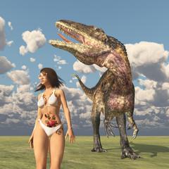 Attraktive Frau im Bikini und der Dinosaurier Acrocanthosaurus