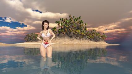 Attraktive Frau im Meer vor einer Insel