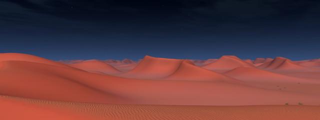 Wüstenpanorama mit Sanddünen bei Nacht